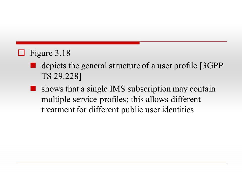 Figure 3.18 depicts the general structure of a user profile [3GPP TS 29.228]